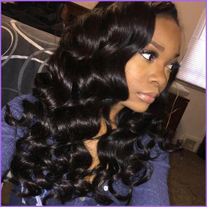 L Part Long Loose Curl Synthetic Lace Front Wig