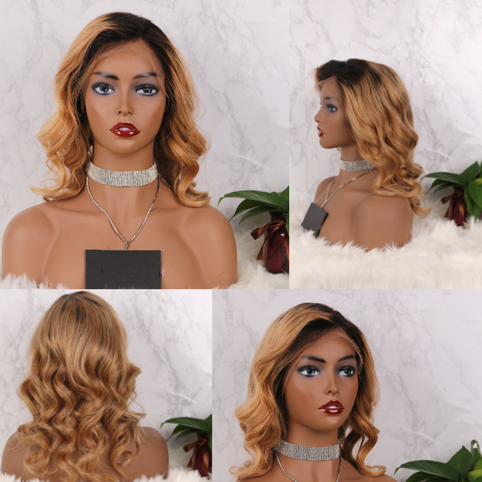 COLODO 13*4 Virgin Human Hair Lace Front  Wigs Ombre Short Curly Wigs ZY-32