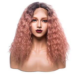 This is Ombre Blonde Pink Water Wave Synthetic Lace Front Wigs.