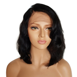 This is a photo of Colodo Short Wavy Bob Brazilian 13*4 Lace Front Human Hair Wigs