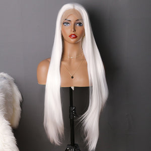 COLODO White Long Straight Wig Synthetic Lace Front Wig for Women Cosplay Halloween Wig