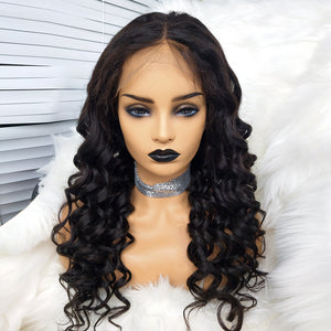 COLODO 100% Virgin Brazilian Hair Curly Lace Front Wigs Nature Color For Black Women
