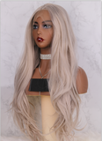 Ash Grey High Temperature Fiber Deep U Full Hair Wigs Long Straight Synthetic Lace Front Wig For Women