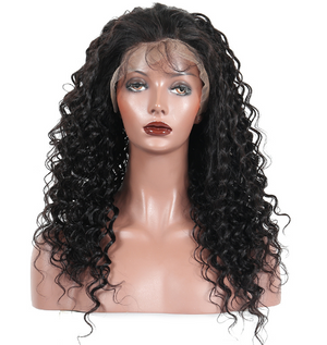 This is 8A Brazilian Virgin Human Hair Full Lace Wigs Deep Wave With Baby Hair.