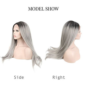 COLODO Sliver Wig Lace Front Wigs for Women Synthetic Ombre Gray Long Straight