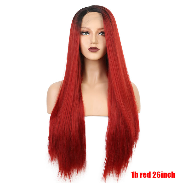 Ombre Red Long Straight Synthetic Lace Front Wigs