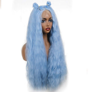 COLODO Blue Synthetic Lace Front Hair Wave Sea Princess Skyblue Wig for Women