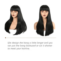 We design the bang a little longer and you  can put the bang backward or cut it shorter  to meet uour hairline.