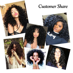The models wear  Synthetic Bob Curly Lace Front Wigs.