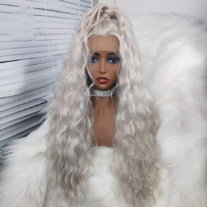 COLODO Pre-lace Wig Role Playing Women with Long Gray and White Curly Hair