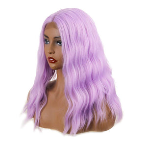 COLODO Sweet Baby Purple Roots Glueless Synthetic Cosplay Wigs for Women Wave Wig