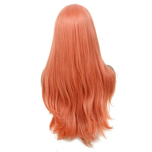 COLODO Sweet Orange Lace Front Wigs for Women Synthetic Wig Long Wavy