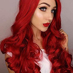 COLODO Ombre Wine Red Synthetic Wigs for Women, Burgundy 99j 2 Tones Dark Roots Long Wavy None Lace Wig Heat Resistant 22 Inches