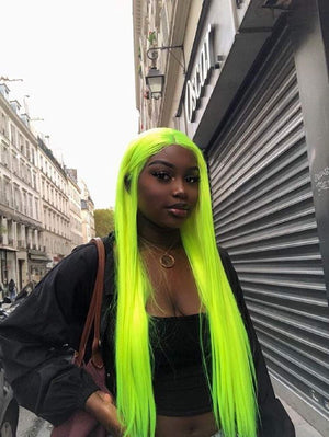 COLODO Neon Green Silk Straight Lace Front Wigs Natural Looking Green Color Synthetic Hair Wigs for Women Girls with Preplucked Hairline