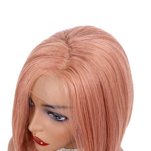 COLODO Hair Short Soft Bob Hair Mixed Pink Color Synthetic Wigs For Women Lace Front Wig Party Bob Hair Natural Look Haircut For Drag Queen 12inches
