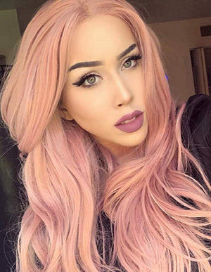 COLODO Lace Front Wigs Pink Wigs for Women Synthetic Rose Wig Long Wavy
