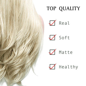 COLODO Golden Wig Lady's Front Lace Wig Synthetic Platinum Golden Hair Dark Brown Root Grey Blond Hair Ombre 2 Tone