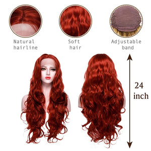 COLODO Red Wigs Lace Front Wig Synthetic Drag Queen Wigs Long Body Wave