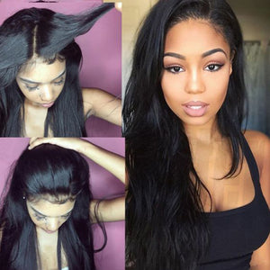 The model wears Full Lace Human Hair Wigs 100% Virgin Brazilian Human Straight Natural Hair ZY-35.