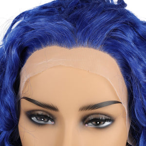 COLODO Deep Curly Lace Front Wig Long Natural Blue Curly Synthetic for Lady