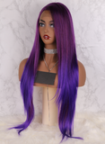 Purple to Blue High Temperature Full Hair Wigs Long Natural Straight Synthetic Lace Front Wig For Women