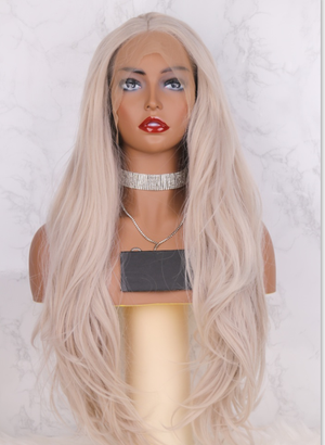Blue High Temperature Fiber Wigs Long Natural Straight Synthetic Lace Front Wig For Women