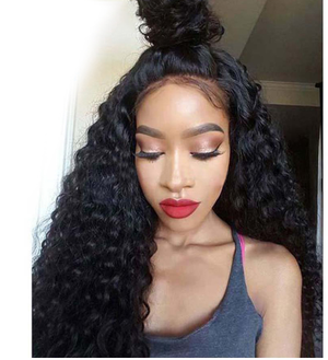 The model wears 100% Virgin Brazilian Human Hair Full Lace Human Wigs Deep Curly  Hair ZY-34.