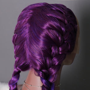 COLODO Ombre Purple Wig Braided Wigs Middle Part Double Braid Synthetic Lace Front Wig Heat Resistant With Natural Hair Line For Women (Black color)