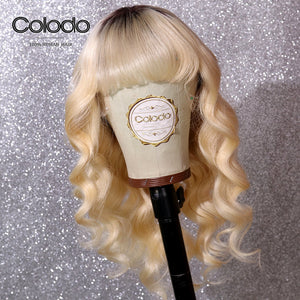 COLODO Glueless Blonde Lace Front Wig Remy Brazilian Wigs With Bangs Ombre Human Hair Wigs For Women
