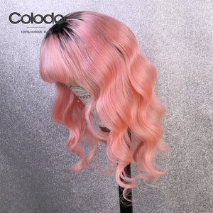 COLODO Long Loose Wave Wig Pre Plucked Remy Hair Ombre Lace Front Human Hair Wigs with Bangs for Women