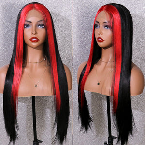 COLODO Highlight Wig 13X4 Heat Resistant Synthetic Lace Front Wig With Natural Hairline Cosplay Glue