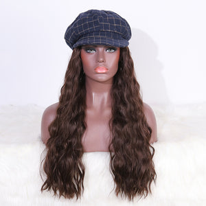 COLODO Blue Tweed Octagonal Cap Wig with Hair Synthetic Hats with Hair Attached Black Hat with Long Wavy Hair for Women Daily Party Use