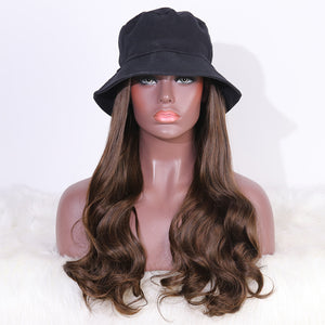 COLODO Bucket Hat Wig with Hair Synthetic Hats with Hair Attached Black Hat with Long Wavy Hair for Women Daily Party Use