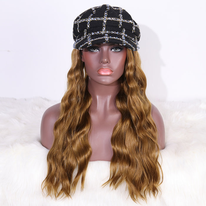 COLODO Black Tweed Octagonal Cap Wig with Hair Synthetic Hats with Hair Attached Black Hat with Long Wavy Hair for Women Daily Party Use