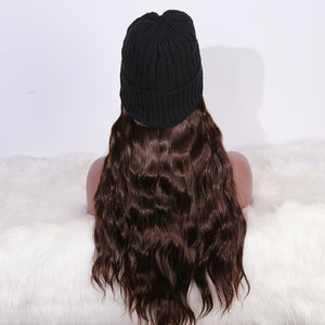 COLODO Womens Winter thickened Beanie Hats with Hair Attached Synthetic Long Wavy Hair Wig Hair for Women Daily Party Use