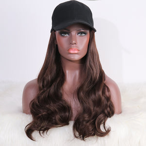 COLODO Baseball Cap Wig with Hair Synthetic Hats with Hair Attached Black Hat with Long Wavy Hair for Women Daily Party Use