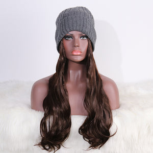 COLODO Womens Winter thickened Gray Beanie Hats with Hair Attached Synthetic Long Wavy Hair Wig Hair for Women Daily Party Use
