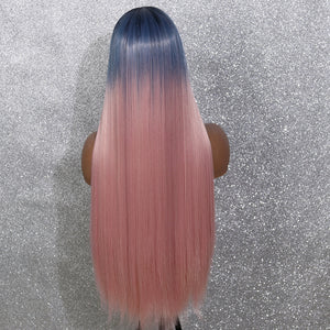 COLODO Blue Ombre Pink Lace Front Wigs for Women Synthetic Wig Long Straight Cosplay Halloween Party Wig