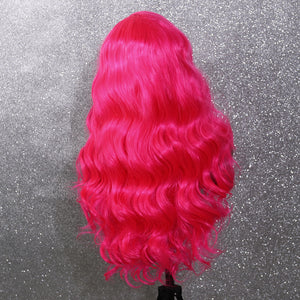 COLODO Rose Red Pink Lace Front Wigs for Women Synthetic Wig Long Body Wavy Cosplay Halloween Party Wig