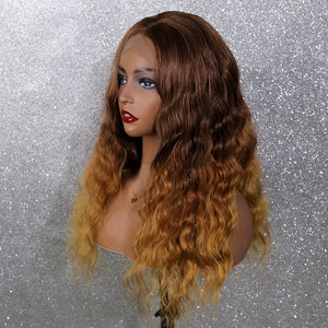 COLODO Dark Brown Ombre Lace Front Wigs for Women Synthetic Wig Long Deep Wavy Curly Cosplay Halloween Wig