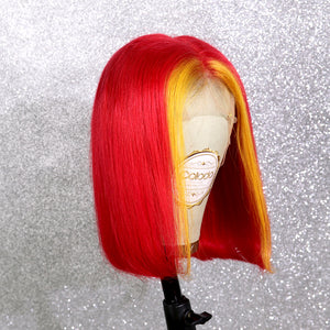 COLODO Red Ombre Yellow Short Bob 13*6 Lace Front Wigs for Women Human Hair Wig Cosplay Halloween Party Wig