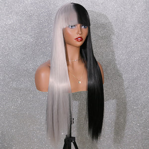COLODO Women's Wig Hair Long Straight Cosplay Wigs Half Black and White Halloween Costume Wig