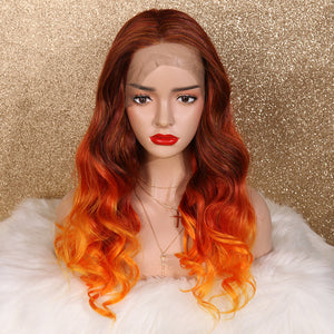 COLODO Red Brown Ombre Orange Lace Front Wigs for Women Synthetic Wig Long Body Wavy Cosplay Halloween Wig