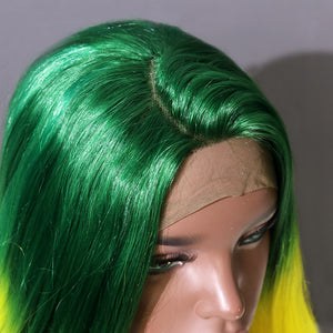 COLODO Dark Green Ombre Yellow Lace Front Wigs for Women Synthetic Wig Long Wavy Cosplay Halloween Wig