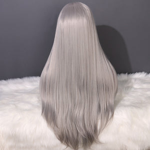 COLODO Gray and White Long Straight Wig Synthetic Lace Front Wig for Women Cosplay Halloween Wig