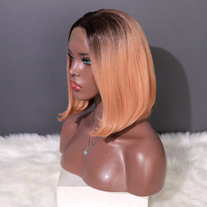 COLODO Ombre Light Orange Short Bob  Wig Synthetic Lace Front Wig for Women Cosplay Party Wig