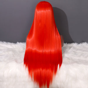 COLODO Orange Red Lace Front Wigs for Women Synthetic Wig Long Straight Cosplay Halloween Party Wig
