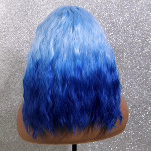 COLODO Light Blue Ombre Lace Front Wigs for Women Synthetic Wig Bob Wig Water Wavy Cosplay Halloween Party Wig