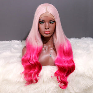 COLODO Pink Ombre Rose Red Lace Front Wigs for Women Synthetic Wig Long Body Wavy Cosplay Halloween Party Wig