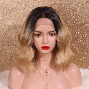 COLODO Blonde Ombre Lace Front Wigs for Women Synthetic Wig Short Bob Wavy Cosplay Halloween Party Wig